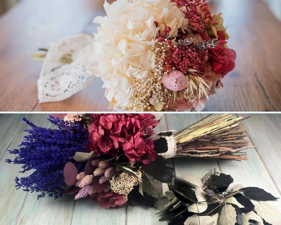 Flores secas para ramo de novia