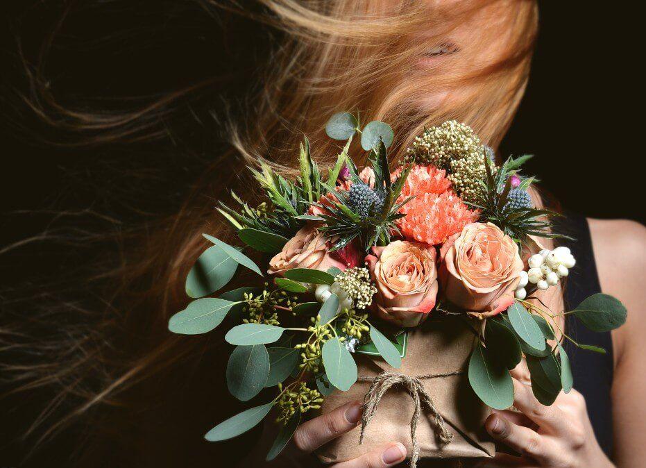 conjunto de flores secas para novia
